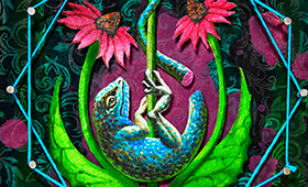 Healing- Virgo, Lizard & Echinacea