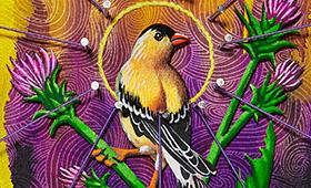 Optimism- Aquarius, Goldfinch & Thistles